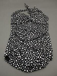 Catalina Size 2X Plus Womens Black Polka Dot Wireless Padded One Piece Swimsuit