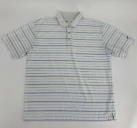 Nike Golf Fit Dry Men's Short Sleeve Polo Shirt White Blue Size L Large Casual