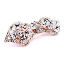 Bridal Gold Bow Knot White Rhinestones Hair Accessories Wedding Clip Pin HA105
