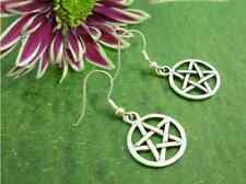 1 pair Fashion Earrings Drop Tibetan Silver Pentacle Pentagram Pagan Gift