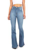 Womens Vintage High Waist Flared Bell Bottom Jeans Vibrant USA Denim More Colors