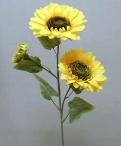 Wedding Artificial Extra large  Sunflower Stems 1m , Pack 2 with 3 flower heads
