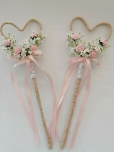 Blush Pink Rose Gypsophila Heart shape Wand flower Girl Wand