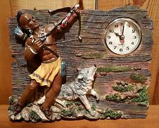Native American Quartz Clock Indian Brave