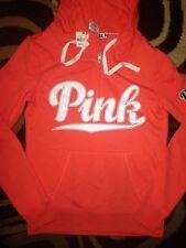 Victorias Secret Pink Love Pink Logo Half Zip Funnelneck Hoodie Sweatshirt XS