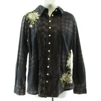 3J Workshop Johnny Was Embroidered Multicolor Top Size M Button Front & Back