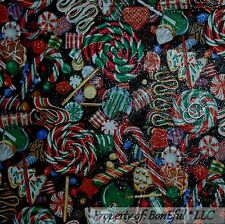 BonEful Fabric FQ Cotton Quilt Red Green White Silver Glitter Xmas Candy Cane US