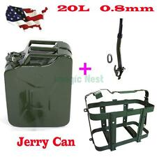 Army Green 5 Gallon 20L Gas Jerry Can Fuel Steel Tank Military Green w/ Holder