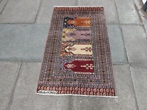 Vintage Traditional Hand Made Pakistan Oriental Wool Cream Brown Rug 130x78cm