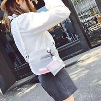 Mujer bandolera bolsa de PVC jalea transparente mensajero Tote bolsos moned QN