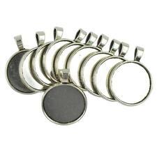 10Stk. Rund Anhänger Rohlinge Fassungen für Cabochons Halskette Silber