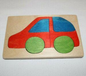 Handmade Car Small Wooden Jigsaw Puzzle Hand Painted Folk Art Unique EUC