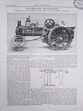 6 Horse Power Traction Engine: Gainsborough: 1908 Engineering Magazine Print