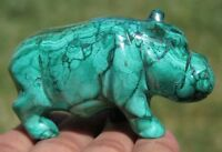 72mm 5OZ Natural Green MALACHITE CRYSTAL Carving Art Hippo