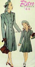 BUTTERICK RETRO PATTERN 6758 MISSES & GIRLS A-LINE COAT 1944 VINTAGE 6-18 & 2-8