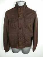 MENS TIMBERLAND BROWN ZIP/BUTTON UP CASUAL SLIM FIT UTILITY JACKET SIZE S SMALL