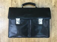 Black Leather 'Osborne' Vintage Style Briefcase in excellent condition