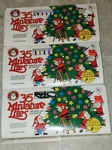 LOT of 3 Vintage Miniature Christmas Light Strings 35 Lights Tested Multi color