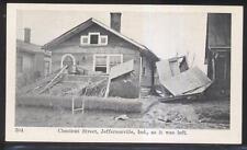 Postcard JEFFERSON Indiana/IN  Chestnut Street Tornado Disaster Ruins view 1953