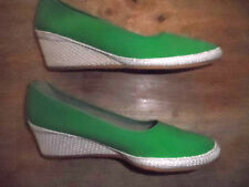 VINTAGE WOMENS BROWSABOUTS ESPRADILLE WEDGES-GREEN-NARROW-SIZE 8