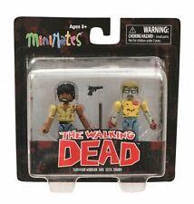 The Walking Dead MiniMates Survivor Morgan and Greek Zombie Figures NIB Series 5