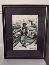 Vintage Painting Ink Framed Signed FLOTTMANNEN Great Man Norway Fisherman Black