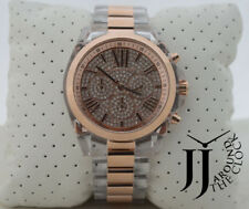 NEW MICHAEL KORS BRADSHAW 2 TONE ROSE GOLD CLEAR ACRYLIC PAVE DIAL WATCH MK5905