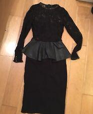 Zara Woman Faux Leather Peplum Dress XS