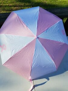 Pink and White Umbrella with Pink Breast Cancer Awareness Ribbon
