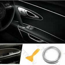 5M Car Interior Molding Trim Insert Decor Strip Line Fill Gap Chrome Silver Kit