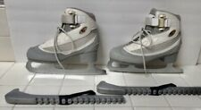 Riedell 810 Womens Soft Figure Ice Skates White & gray Sz 6 Euc! W/skate Guards!