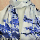 100% Silk Scarf Genuine Real Pure Mulberry Floral Blue Long Shawl Wrap Stole New