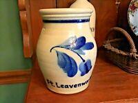 Shadowlawn Stoneware Salt Glaze Crock Wisconsin Cobalt Blue Tulip Ft Leavenworth