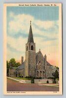Chester WV, Sacred Heart Catholic Church Bell Tower Linen West Virginia Postcard
