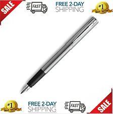 Waterman Graduate Chrome Fountain Pen, Fine Nib, Blue Ink NEW FREESHIPPING