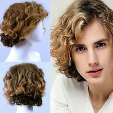 UK Synthetic Mens Short Curly Wig Cosplay Handsome Natural Full Wigs Long Clear