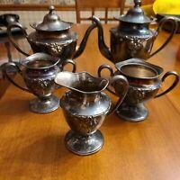 Vtg Eureka Silver Co quadruple plate 5 piece coffee and tea set