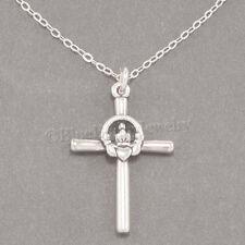 "CELTIC CLADDAGH CROSS Irish Heart LOVE 925 Pendant STERLING SILVER 18"" Necklace"