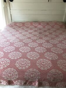 Vintage Matelasse Cover Pink Cotton Bedspread Coverlet Woven Cutter Bates Style