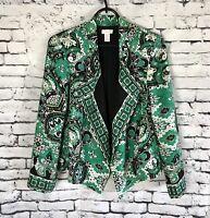 Chico's Open Front Blazer Jacket Green Print Black Lining Women's Size 0
