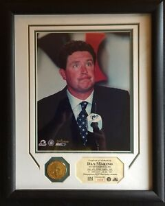 Dan Marino Retirement Photo & 24K Gold Overlay Medallion. Limited Edition