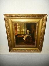 Antique oil painting,{ Indoors scene, with a woman sewing, great frame! }.