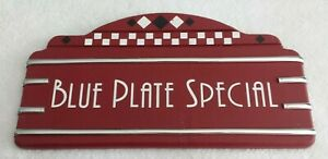 🌟 Retro Vintage Style BLUE PLATE SPECIAL Painted Wood Sign Red Faux Chrome Nice