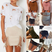 Fashion Women High Waist Short Bodycon Lace Up Skirts Sexy Split Bandage Skirt