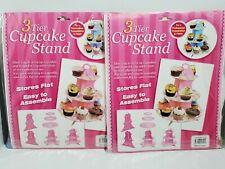 3-Tier Cupcake Stand Round  Cake Dessert Pastry Display Tower Holder-NIP 2Pack