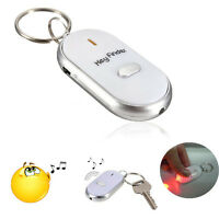 LED New Anti-Lost Key Finder Locator Keychain Whistle Beep Sound Control Torch I