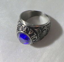 A STAINLESS RING W, BLUE STONE FOR LITTLE MAJORS COOP EASTOWN AYB HALL OF FAME S