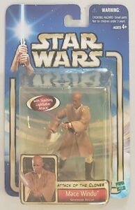 STAR WARS ATTACK OF THE CLONES MACE WINDU GENOSIAN RESCUE WITH LIGHTSABER ACTION