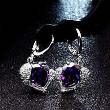 925 Silver Plated Purple Heart Crystal Drop/Dangle Silver Hoop Earrings
