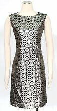 Tahari Pewter Grey Shift Dress Size 16 Cocktail Faux Leather Metallic Laser Cut*